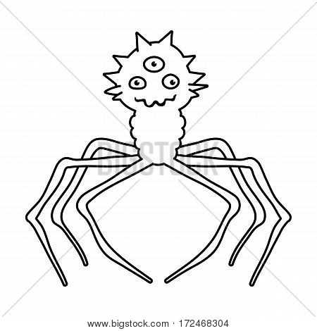 Red virus icon in outline design isolated on white background. Viruses and bacteries symbol stock vector illustration.