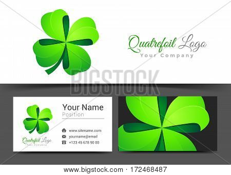 Four Leaf Green Clover. Lucky Quatrefoil. Good Luck Corporate Logo Business Card Sign Template. Creative Design Colorful Logotype Visual Identity Composition Multicolored Element. Vector Illustration.