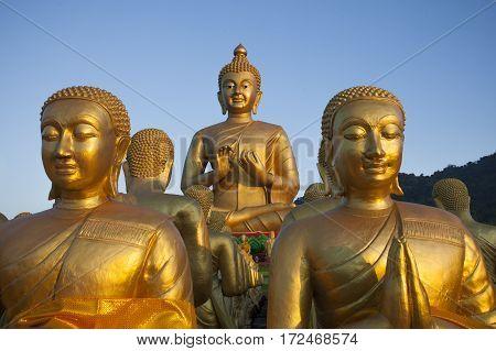 close up buddha statue in buddhist temple thailand