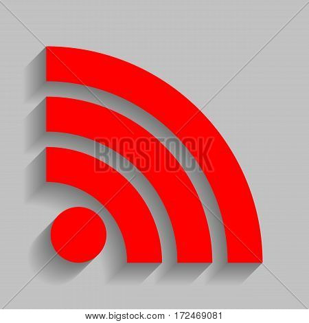 RSS sign illustration. Vector. Red icon with soft shadow on gray background.