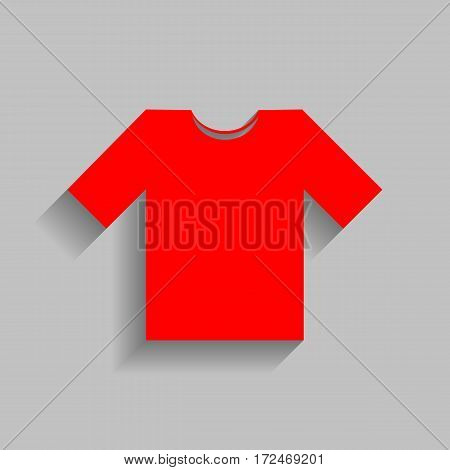 T-shirt sign illustration. Vector. Red icon with soft shadow on gray background.