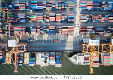 Aerial Top View Container And Cargo Ship, Import Export, Business Logistic Supply Chain Transportati