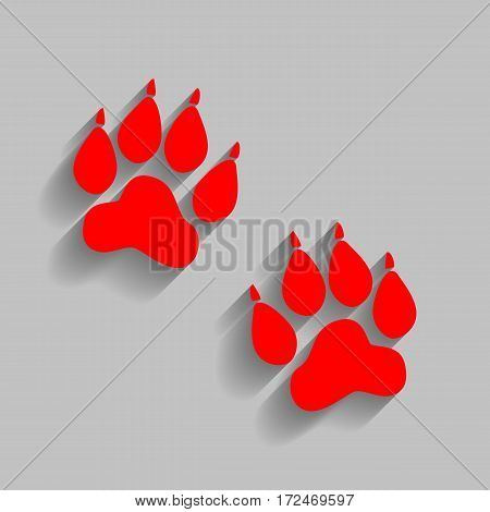 Animal Tracks sign. Vector. Red icon with soft shadow on gray background.