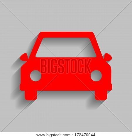 Car sign illustration. Vector. Red icon with soft shadow on gray background.