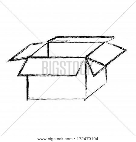 blurred silhouette packing open and empty vector illustration
