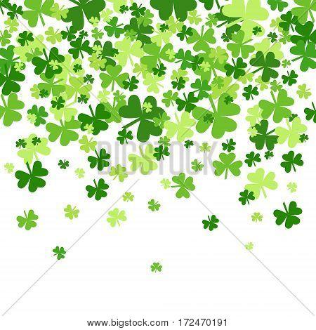 Shamrock Pattern Background Saint Patrick Day Beer Festival Banner Flat Vector Illustration