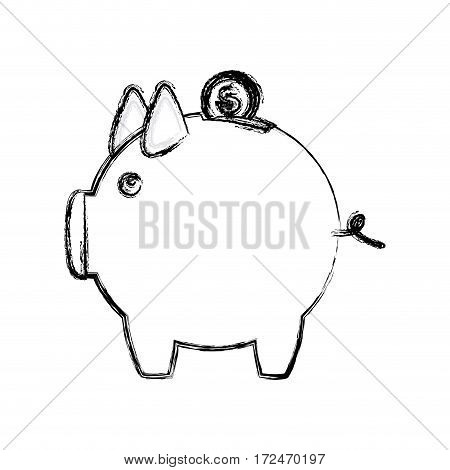 blurred silhouette money box in shape of pig vector illustration