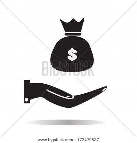 hand and moneybag on white background. hand and moneybag sign.
