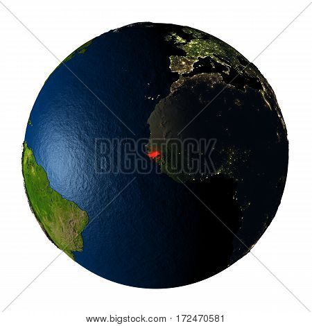 Guinea-bissau In Red On Earth Isolated On White