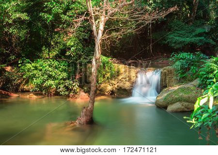View of Kroeng Krawia Waterfall at Sangkhla BuriKanchanaburi ProvinceThailand