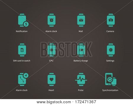 Smart watch settings, pulse, camera and SIM card icons set. Vector illustration.