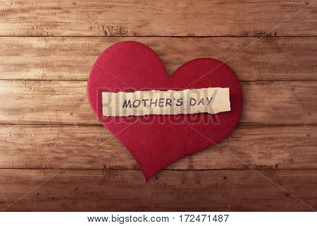 Mother's Day Message On Ripped Paper In Red Heart Shape