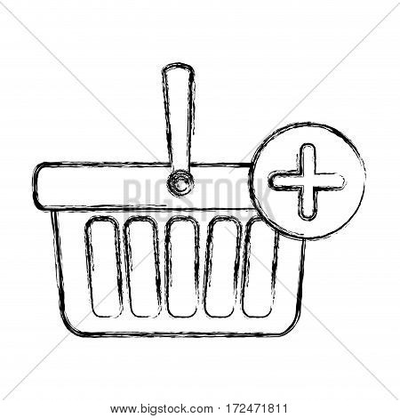 blurred silhouette shopping basket with plus sign vector illustration