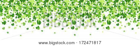 Shamrock Pattern Background Saint Patrick Day Beer Festival Banner Flat Vector Illustration