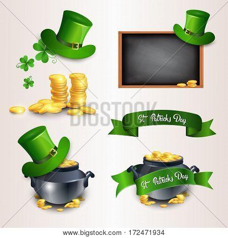 Saint Patrick Day Beer Festival Banner Icon Set Flat Vector Illustration