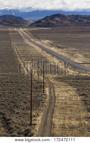 Highway 50 In The Nevada Desert.  The Loneliest Road In America.