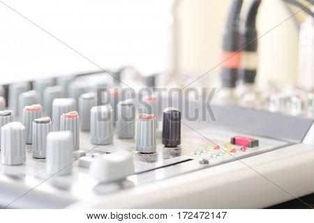 Close up audio control desk