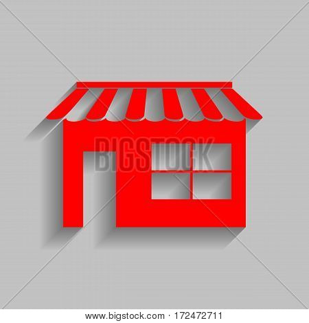 Store sign illustration. Vector. Red icon with soft shadow on gray background.