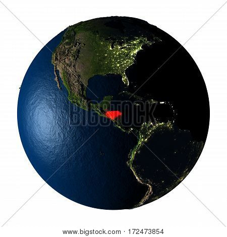 Honduras In Red On Earth Isolated On White