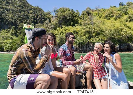 Young People Group Boating Summer Vacation, Happy Smiling Friends Sailing Yacht Sea Ocean Holiday Travel