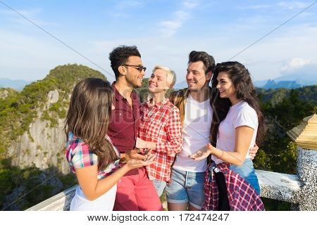 Young People Group Mountain View Point Happy Smiling Friends Talking Asian Holiday Summer Vacation Travel