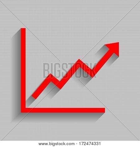 Growing bars graphic sign. Vector. Red icon with soft shadow on gray background.