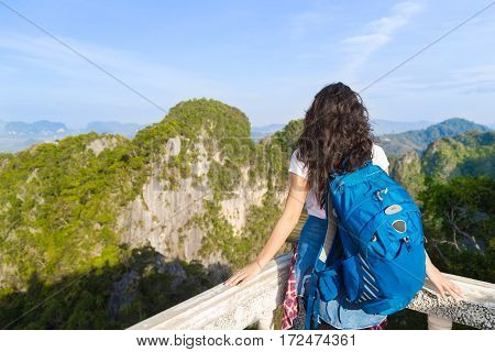 Young Girl Mountains Cave Looking Landscape Back Rear View Tourist Woman Summer Vacation Holiday Travel