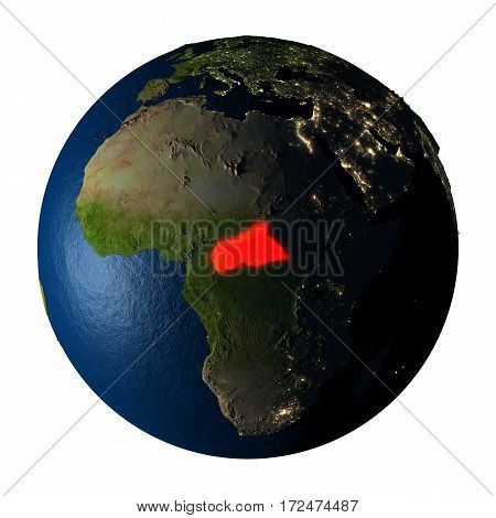 Central Africa In Red On Earth Isolated On White