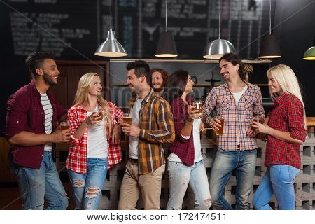 Young People Group In Bar, Happy Smiling Friends Pub, Drink Beer Talking Communication Party Celebration