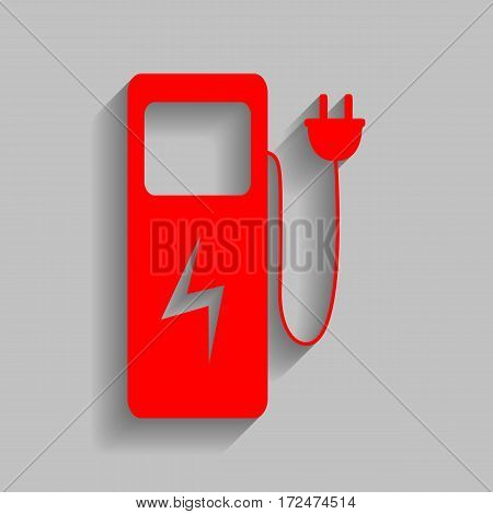 Electric car charging station sign. Vector. Red icon with soft shadow on gray background.