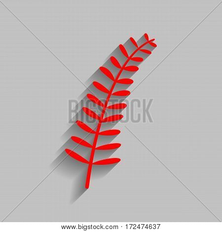 Olive twig sign. Vector. Red icon with soft shadow on gray background.