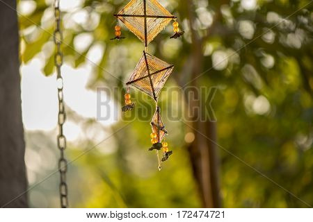 Beads and thread Handicraft hanging mobile decoration, Northen Thai's Style, Sensitive Focus