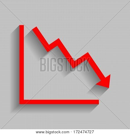 Arrow pointing downwards showing crisis. Vector. Red icon with soft shadow on gray background.