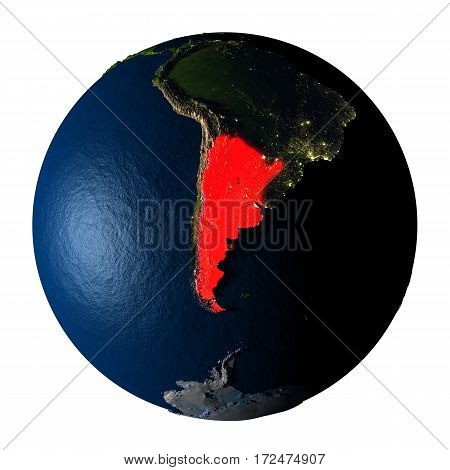 Argentina In Red On Earth Isolated On White
