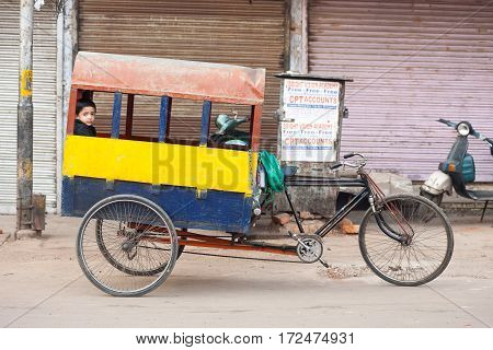 Indian Child Riding School Cycle Rickshaw