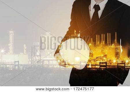 Double Exposure Of  Engineer Against Petrochemical Industrial Plant