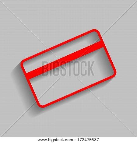 Credit card symbol for download. Vector. Red icon with soft shadow on gray background.