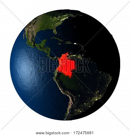 Colombia In Red On Earth Isolated On White