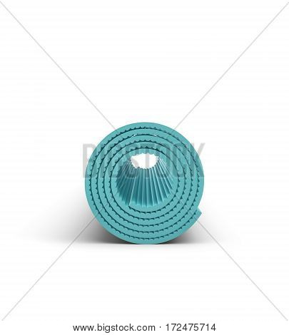 3d rendering of light blue yoga mat for exercise is rolled up isolated on white background. Fitness mat. Healthy lifestyle. Yoga exercises