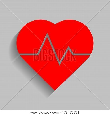 Heartbeat sign illustration. Vector. Red icon with soft shadow on gray background.