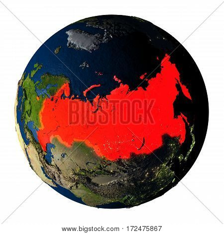 Russia In Red On Earth Isolated On White