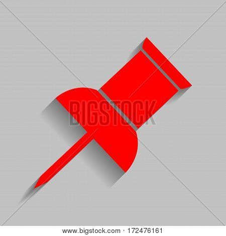 Pin push sign. Vector. Red icon with soft shadow on gray background.