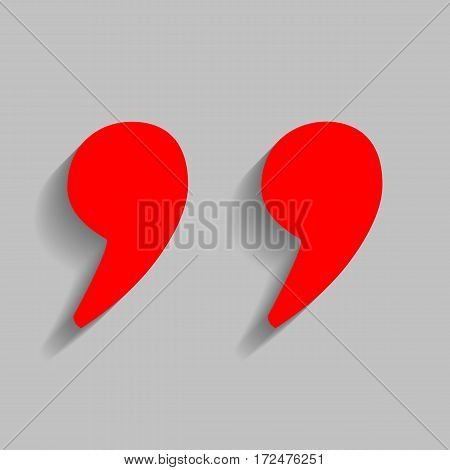 Quote sign illustration. Vector. Red icon with soft shadow on gray background.