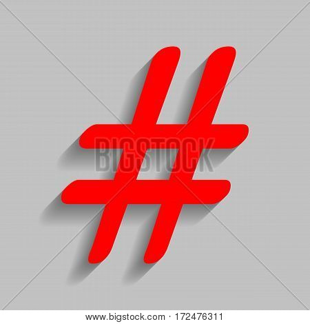 Hashtag sign illustration. Vector. Red icon with soft shadow on gray background.