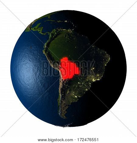 Bolivia In Red On Earth Isolated On White