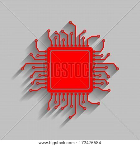 CPU Microprocessor illustration. Vector. Red icon with soft shadow on gray background.