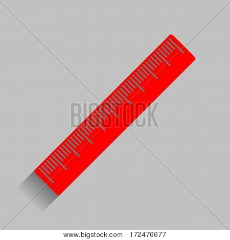 Centimeter ruler sign. Vector. Red icon with soft shadow on gray background.