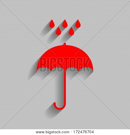Umbrella with water drops. Rain protection symbol. Flat design style. Vector. Red icon with soft shadow on gray background.
