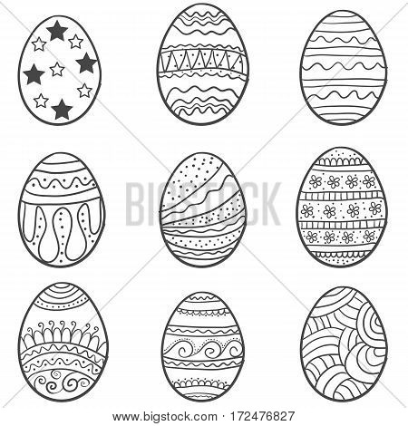 Doodle of easter egg collection set vector art