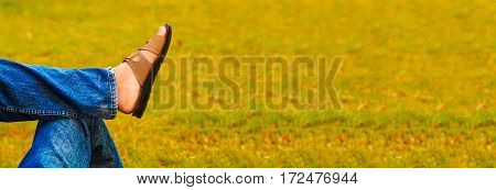 man is relaxing on grass in a happy lifestyle photo